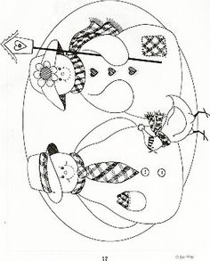 Old man and woman snow people Cross Stitch Embroidery, Hand Embroidery, Embroidery Designs, Christmas Coloring Pages, Christmas Drawing, Christmas Embroidery, Applique Patterns, Digi Stamps, Painting Patterns