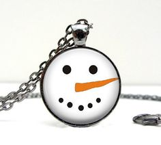 Snowman Face Necklace  Christmas. Holiday. Pendant. by Lizabettas, $14.00