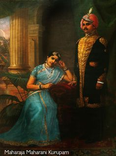 Royalty & their Jewelry Maharaja and Maharani of Kurupam Resplendent in her Basra pearls, diamonds and sapphires, the Maharani of Kurupam wears a semi transparent silk shawl and fitted blouse with woven gold borders, pearls and silver zardozi embroidery. Ravivarma Paintings, Indian Art Paintings, Raja Ravi Varma, Royal Indian, Nostalgic Images, Vintage India, Indian Beauty, Royalty, Fine Art