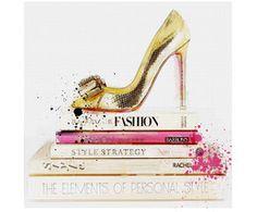 Leinwanddruck Gold Shoe and Fashion Books