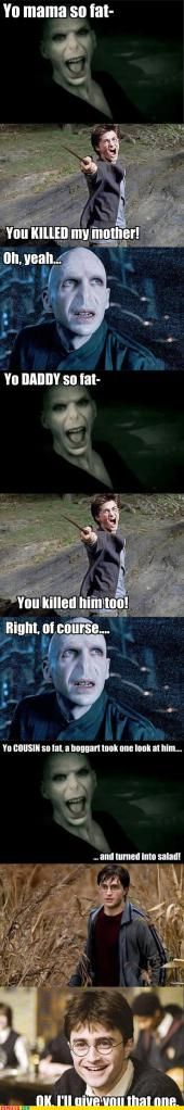 Yo mama fight Harry Potter and Voldemort