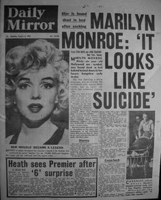 marilyn monroe: it looks like suicide sad.but i dont think it was suicide at all! Mort Marilyn Monroe, Marilyn Monroe Photos, Katharine Ross, Newspaper Headlines, Norma Jeane, Journal, Old Hollywood, Movie Stars, My Idol