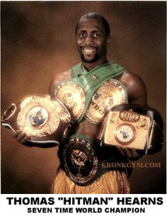 """TOMMY HEARNS ranks as one of the greatest fighters of his era. The first boxer to win world titles in four different weight classes, """"The Hitman"""" went on to claim eight belts in six weight divisions. Able to control a fight with his long flicking jab, then end it instantly with his powerful right hand, Hearns won 61 fights (48 by KO). He beat nearly everyone put in front of him. - Sugar/Atlas (Aethon)"""