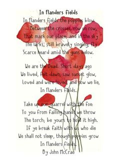 """I have mentioned the poppies that later grew in Flanders. """"In Flanders Fields"""" was written by Canada's Lieutenant Colonel John McCrae. He was a physician, teacher, author, poet, artist. He served in Belgium as a surgeon in Image by Emily Beale."""