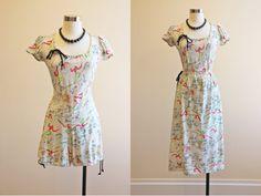 1940s Romper & Skirt  40s Beach Pajama Set  Novelty by jumblelaya