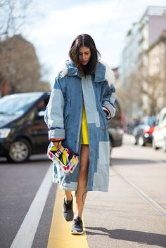 Sneakers + manteau patchwork