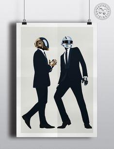 Daft Punk - Minimalist Band Poster — Posteritty Daft Punk Poster, Minimal Poster, Punk Art, Band Posters, Poster On, Frames, Minimalist, Tattoo, Wall Art