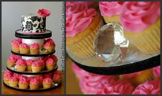 Haute Couture Cupcake Tower.  Buttercream cake with black buttercream stenciled on the sides.   Edible pink anemone.    CreativeCakeDesignsNC@gmail.com