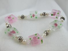 Pink and White Rosebud Stretch Bracelet/ by BagsBeadsBeautified