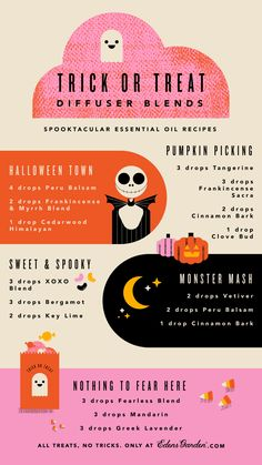 We're talking about Halloween! Besides celebrating by gorging on candy and slipping on a costume, we're diffusing mysterious and spooky diffuser blends. Inspired by one of our favorite fall holidays, these diffuser blends are a sweet treat to the senses. Edens Garden Essential Oils, Yl Essential Oils, Essential Oil Diffuser Blends, Young Living Essential Oils, Essential Oil Recipies, Diffuser Recipes, Doterra, Mysterious, Costume
