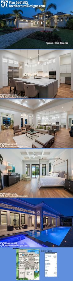 Photos help bring Architectural Designs House Plan 65615BS to life, shown here built in Florida. And we have more photos online. The home gives you 4 beds, 4.5 baths and just over 4,000 square feet of heated living space. Ready when you are. Where do YOU want to build?