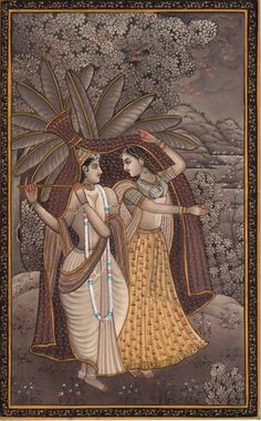 Krishna Radha Miniature Art Handmade Hindu Indian Ethnic Religious Folk Painting