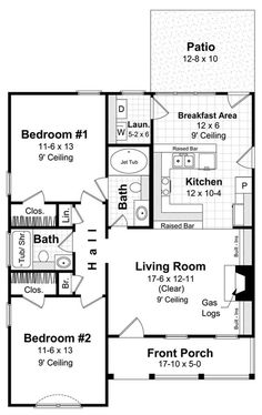 This is a house design with many of the most-requested features. The home features an open floor plan layout for the living area and includes a great room with gas logs and plenty of built-ins. Additional features include two raised bars (great for visitors) and a sunroom/breakfast. The two bedrooms are larger than you would expect for a house this size, and one bath has an oversized 42 x 60 Jet Tub. A separate laundry, pantry, linen and broom closet compliment the layout of this floor…