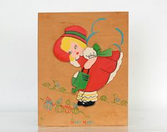Vintage Mary Mary Quite Contrary Wooden Wall Hanging by astronave, $24.75