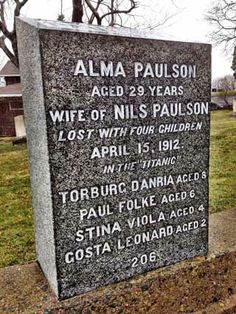 Headstone in Fairview cemetery in Halifax Nova Scotia where over 100 victims of…