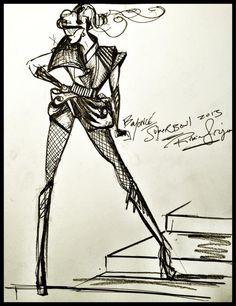 Costume sketch for Beyonce's Superbowl performance by designer Rubin Singer
