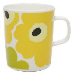Unikko Mug Lime/Yellow/White   Kiitos Marimekko