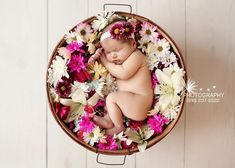Inspiration For New Born Baby Photography : Flower girl baby photo shoot idea Newborn Photography Poses, Newborn Baby Photography, Children Photography, Newborn Photographer, Photography Ideas, Foto Newborn, Newborn Session, Baby Girl Newborn, Newborn Pictures