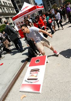 The Nutella logo was splashed on games and activities, including a beanbag toss.  Photo: Brian Ach/AP Images for Nutella