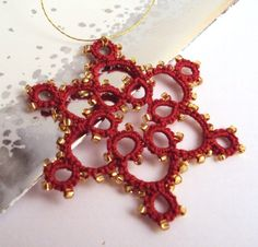 Tatted Red Christmas Tree Decoration With Gold Beads £4.00