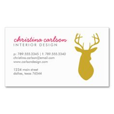 Gold Modern Deer and Chevron Stripes Business Card Template. Make your own business card with this great design. All you need is to add your info to this template. Click the image to try it out!