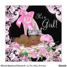African American Princess Pink Black Baby Shower 5.25x5.25 Square Paper Invitation Card