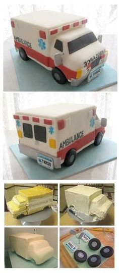 Ambulance Cake Cake for twins boy and girl Cake Decorating Techniques, Cake Decorating Tutorials, Fancy Cakes, Cute Cakes, Pink Cakes, Fondant Cakes, Cupcake Cakes, Fondant Cake Tutorial, Ambulance Cake