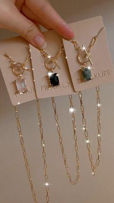 18K Gold Filled Natural Gemstone Paperclip Chain Necklace