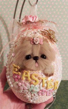 Yorkie Dog Large embellished hanging Easter Egg
