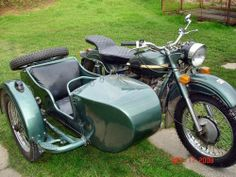 Forest green Ural with custom seat & sidecar