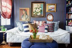 Blue Stripes and White Daybed   Instagram photo by @onekingslane • 3,302 likes