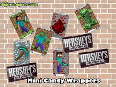 MINECRAFT MINI CANDY WRAPPERS  Minecraft chocolate label  http://partyprintable.weebly.com/     Minecraft printable decoration, Minecraft birthday party decoration, Minecraft gifts, Minecraft invitation, Minecraft, Minecraft creeper, Creeper decoration, Minecraft digital file, Minecraft free decoration minecraft printables