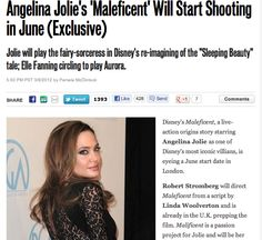"""Angelina Jolie's 'Maleficent' Will Start Shooting in June (Exclusive)  Jolie will play the fairy-sorceress in Disney's re-imagining of the """"Sleeping Beauty"""" tale; Elle Fanning circling to play Aurora. Read more: http://www.hollywoodreporter.com/heat-vision/angelina-jolie-maleficent-elle-fanning-297797"""