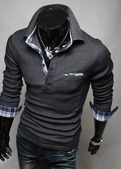 Plaid Edge Turndown Collar Long Sleeve Shirt – teeteecee - fashion in style