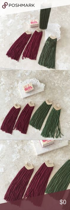 """✨JUST IN✨Fall Colors Long Tassel Earrings ✨JUST IN✨Fall Colors Long Tassel Earrings  Long, tassels made from soft fabric drop from sleek geometric shapes. Designed to highlight the neck and collarbone. Tassel Earrings MORE colors available.   Measurements: 1.0"""" X 5.0"""" approx.   Bundle & Save!! 10% 2 items 15% 3+ items  No Trades undefined Jewelry Earrings"""