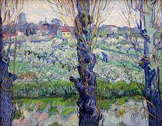 Flowering Orchards By Vincent van Gogh, Oil Painting Vincent Van Gogh, Van Gogh Art, Art Van, Paul Gauguin, Flores Van Gogh, Landscape Art, Landscape Paintings, Desenhos Van Gogh, Van Gogh Pinturas