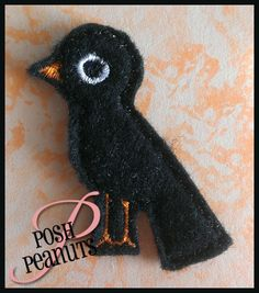UNCUT Machine Embroidered Hand Made Felt / Felties Black Crow Embellishments / Appliques