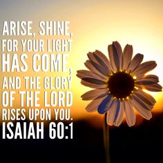 """""""Arise, shine, for your light has come, and the glory of the Lord rises upon you."""" Isaiah 60:1 #godisgood #dailybread #servehimwholeheartedly"""
