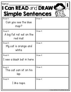 Worksheets Sentence Comprehension Worksheets simple sentences read and draw the a sentence combines sight words decodable word families