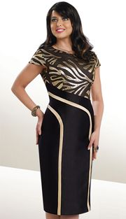 1 pc Dress - Black & Gold - CH1875-IH-WE Sizes: 8 12 14