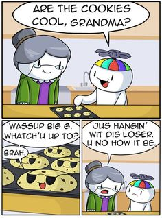 Are the Cookies Cool Yet? [Comic] [Source: The Odd Out Funny Shit, Stupid Funny Memes, Funny Relatable Memes, Haha Funny, Funny Cute, Funny Stuff, Theodd1sout Comics, Funny Comics, Odd Ones Out Comics