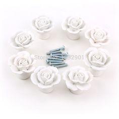 Trouver Plus Poignées De Portes Informations Sur 8 PCS En Céramique  Porcelaine Chambre Porte Armoire à Tiroirs Bouton Tirer La Poignée Flore  Rose, ...