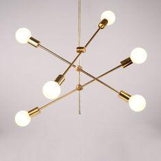 Nordic Simple Pendant Light Electrolplating Golden Pendant Light Living Room Study Light