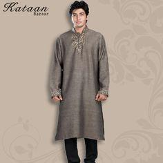 Long Sleeved Teak Colored Cotton Khadi Kurta with Churidar