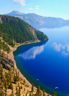 Crater Lake, Oregon: Home of the remarkably blue, crystal clear waters of the nation's deepest lake. Great Places, Places To See, Beautiful Places, Crater Lake Oregon, Crater Lake National Park, Oregon Travel, Us National Parks, Dream Vacations, Wonders Of The World