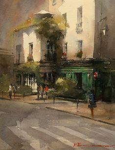 Cafe in green by Vladislav Yeliseyev Watercolor ~ 16 x 12