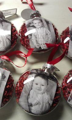 selbstgemachte weihnachtsgeschenke weihnachtskugeln mit fotos