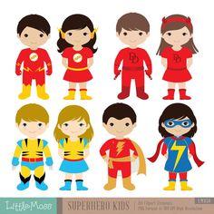 36 bambini Superhero costumi Clipart Clipart di bambini di