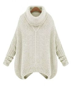 Loose High Collar Thicken Knitted Pullover - Clothing