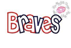 Braves Wording Machine Embroidery Applique Design